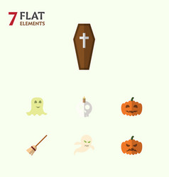 flat icon halloween set of broom gourd ghost and vector image vector image