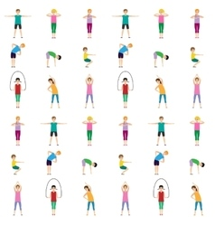 Gymnastics kids seamless pattern vector image