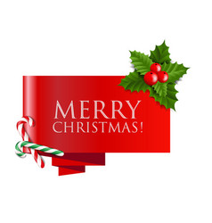sale christmas banner with holly berry and vector image vector image