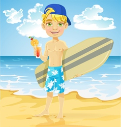 Teen boy with a drink and a surfboard on a beach vector image vector image