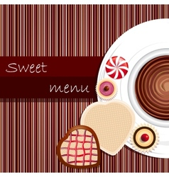 Template of a sweet menu vector image vector image