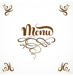 Calligraphic inscription menu with elegant vector image