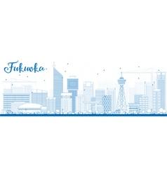 Outline Fukuoka Skyline with Blue Landmarks vector image