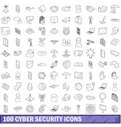 100 cyber security icons set outline style vector image