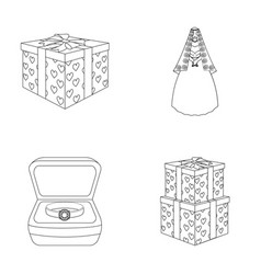 A box with a gift for a wedding a bride in a veil vector