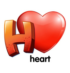 A letter H for heart vector