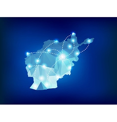 Afghanistan country map polygonal with spot lights vector