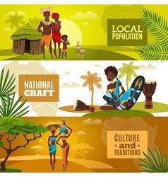 African Culture Flat Horizontal Banners Set vector