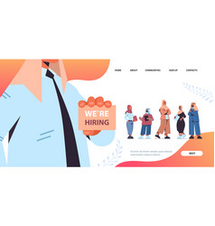 Arab hr manager holding we are hiring poster vector