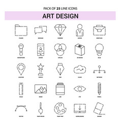 Art and design line icon set - 25 dashed outline vector