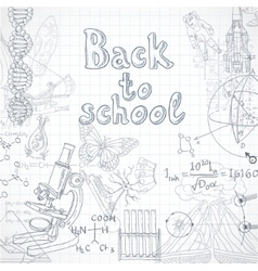 Back to school squared paper sheet with doodles vector