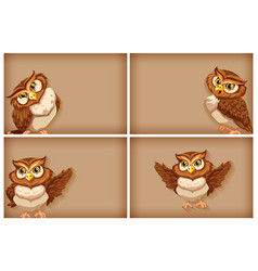 Background template with plain color and owls vector