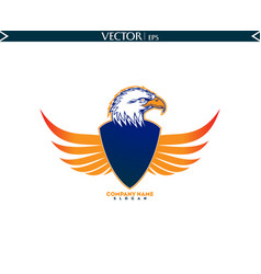 Bald eagle with shield wings logo vector