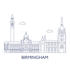 Birmingham the most famous buildings of the city vector
