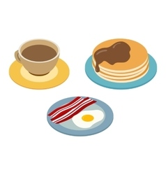 Breakfast isometric 3d icon vector