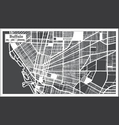 Buffalo usa city map in retro style outline map vector