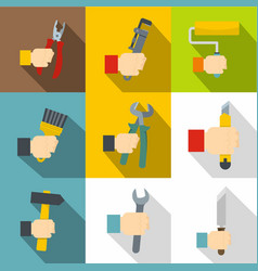 Builder tools icons set flat style vector