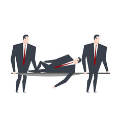 businessman carries boss on stretcher office life vector image