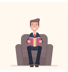 Businessman sitting in armchair and reading book vector