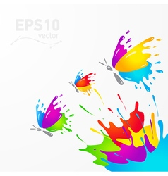 Butterfly colored splash vector