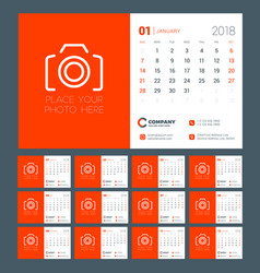 calendar for 2018 year week starts on sunday vector image