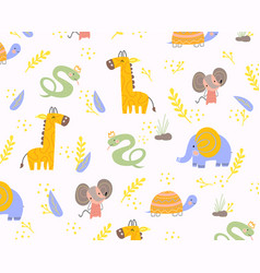 Colorful background pattern animals vector