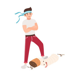 Concept fight against smoking young guy vector
