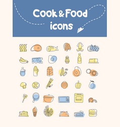 Cook and food icon vector