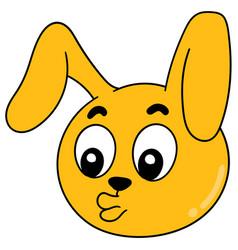 Cute bunny head emoticon with pouting lips vector