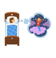 cute girl sleeping in bed and dreaming about girl vector image