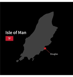Detailed map of Isle of Man and capital city vector image