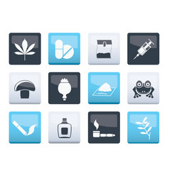different kind of drug icons over color background vector image