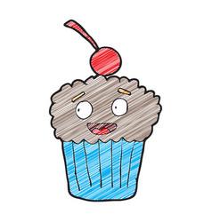 digitally drawn cupcake characters design hand vector image