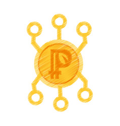 drawing peercoin web icon vector image