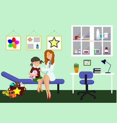 Examination pediatrician pediatric department vector
