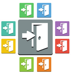 exit icons - almost flat style vector image