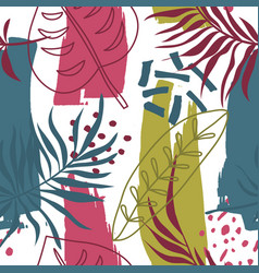 exotic trendy pattern with tropical plants modern vector image