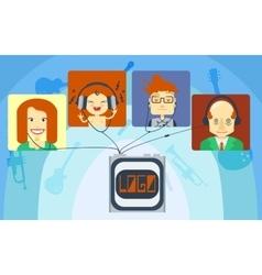 Family listening music vector image