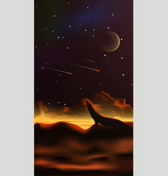 Fantastic space landscape in style realism vector