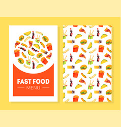 fast food menu card template restaurant cafe vector image