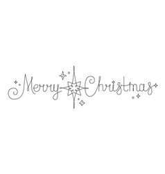 festive lettering merry christmas continuous line vector image