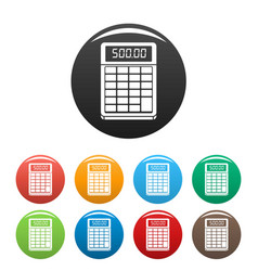 financial calculator icons set color vector image