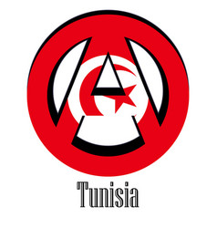 flag of tunisia of the world in the form of a vector image