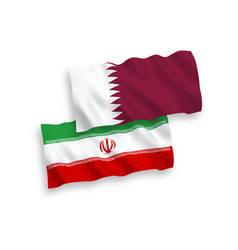 Flags qatar and iran on a white background vector