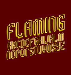 flaming alphabet yellow shades artistic font vector image