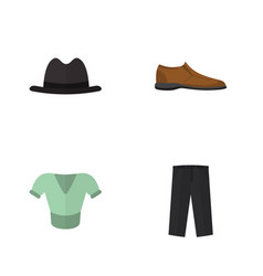 Flat garment set of male footware pants panama vector