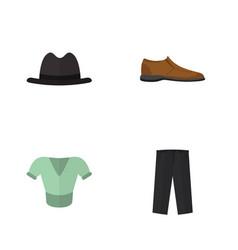 Flat garment set of male footware pants panama vector