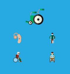 flat icon disabled set of equipment injured vector image