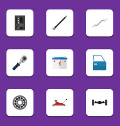 Flat icon workshop set of automatic transmission vector
