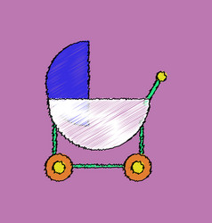 Flat shading style icon baby carriage silhouette vector